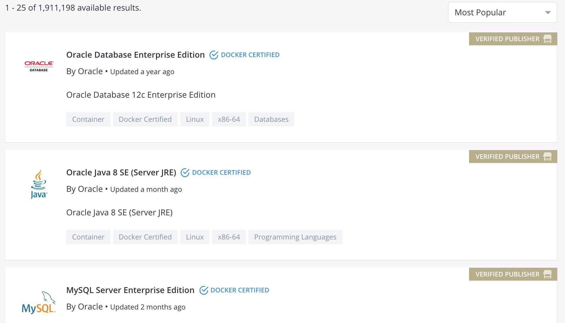 Docker Hub 上提供的镜像截图